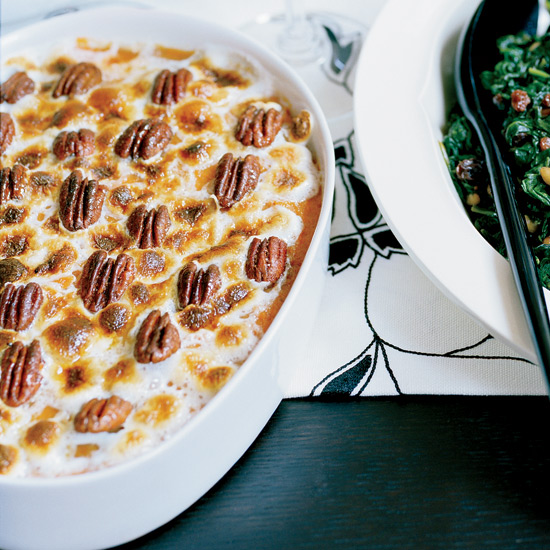 Sweet Potato Gratin with Chile-Spiced Pecans