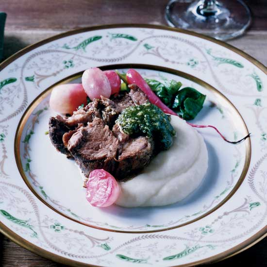 Slow-Roasted Lamb Shoulder with Almond-Mint Pesto