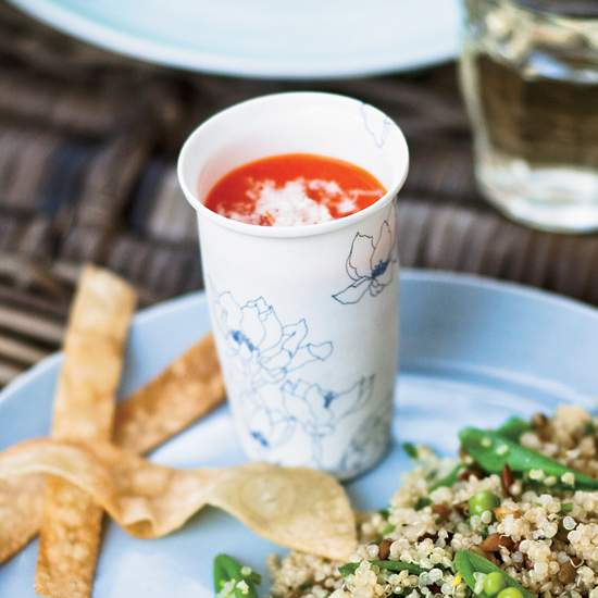 Chilled Red Bell Pepper Shooters