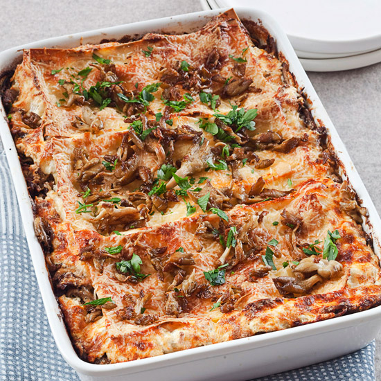 Lasagna with Wild Mushrooms-and-Lamb Sausage