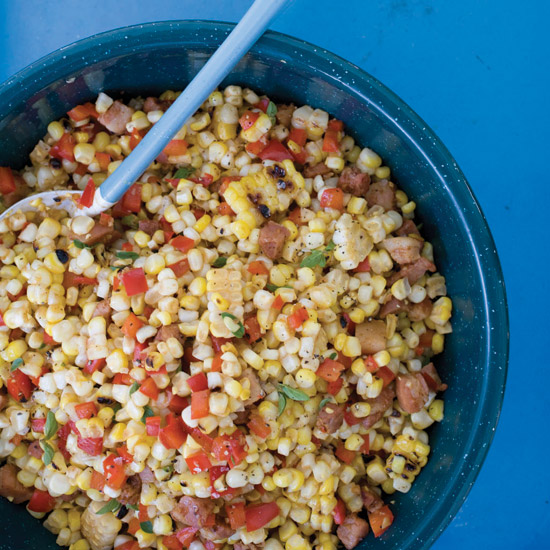 Warm Grilled Corn with Pancetta and Red Pepper
