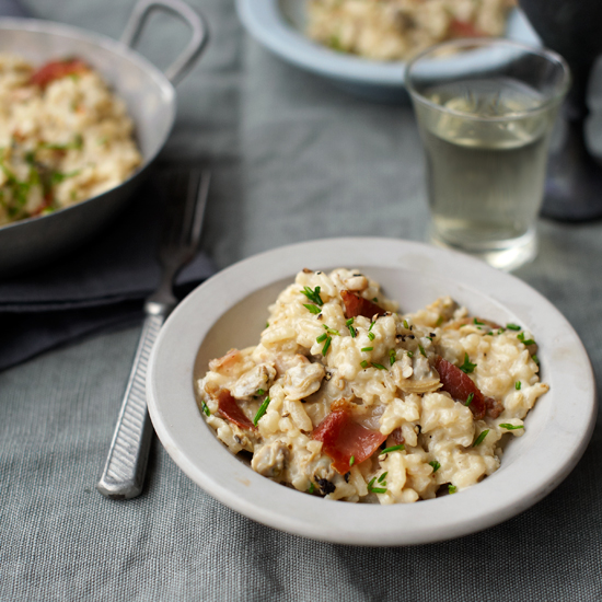 Clam Risotto with Bacon and Chives