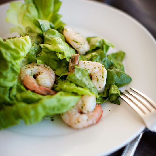 Shrimp-and-Boston-Lettuce Salad with Garlic, Anchovy, and Mint Dressing