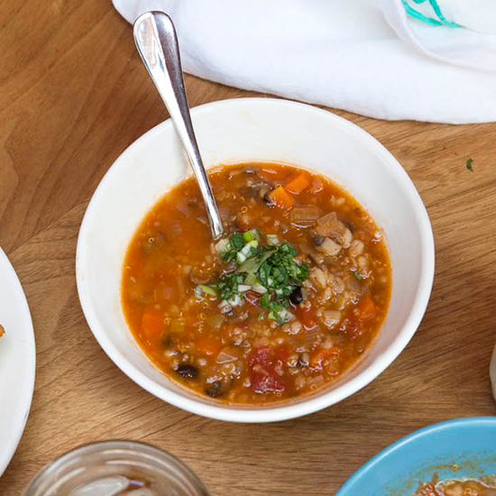 Vegetarian Chili with Barley, Quinoa and Beans