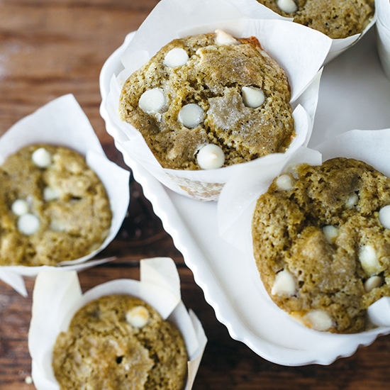 Matcha Muffins with White Chocolate Chips