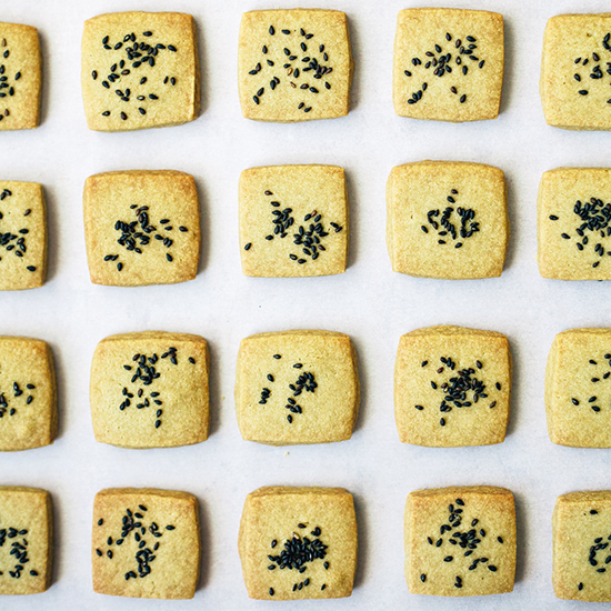 Matcha Shortbread Cookies with Black Sesame Seeds