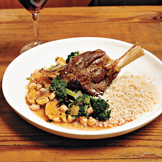 Braised Lamb Shanks with Roasted Broccoli and Squash