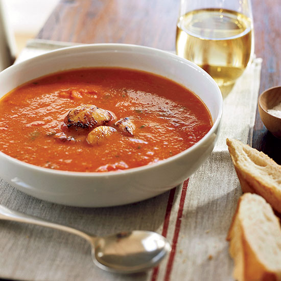 Roasted Red Pepper Soup with Seared Scallops
