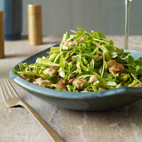 Warm Escarole Salad with Snow Peas and Sausage