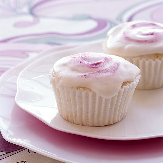 Angel Food Cupcakes with Raspberry Frosting