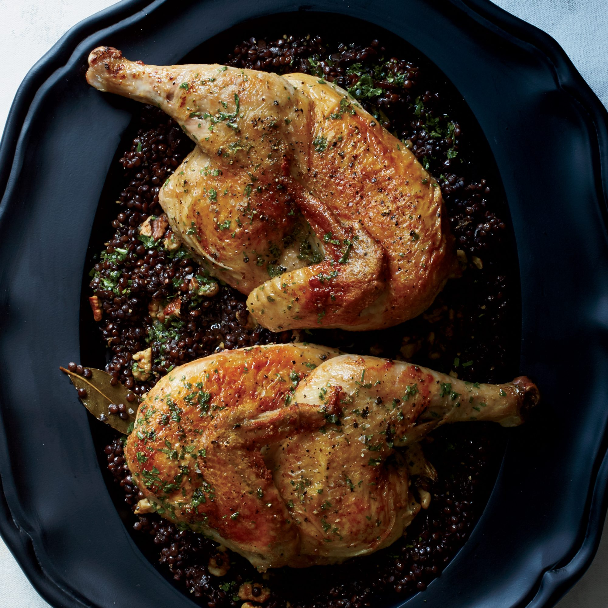 Cast-Iron Roast Chicken with Lentils and Walnut Vinaigrette