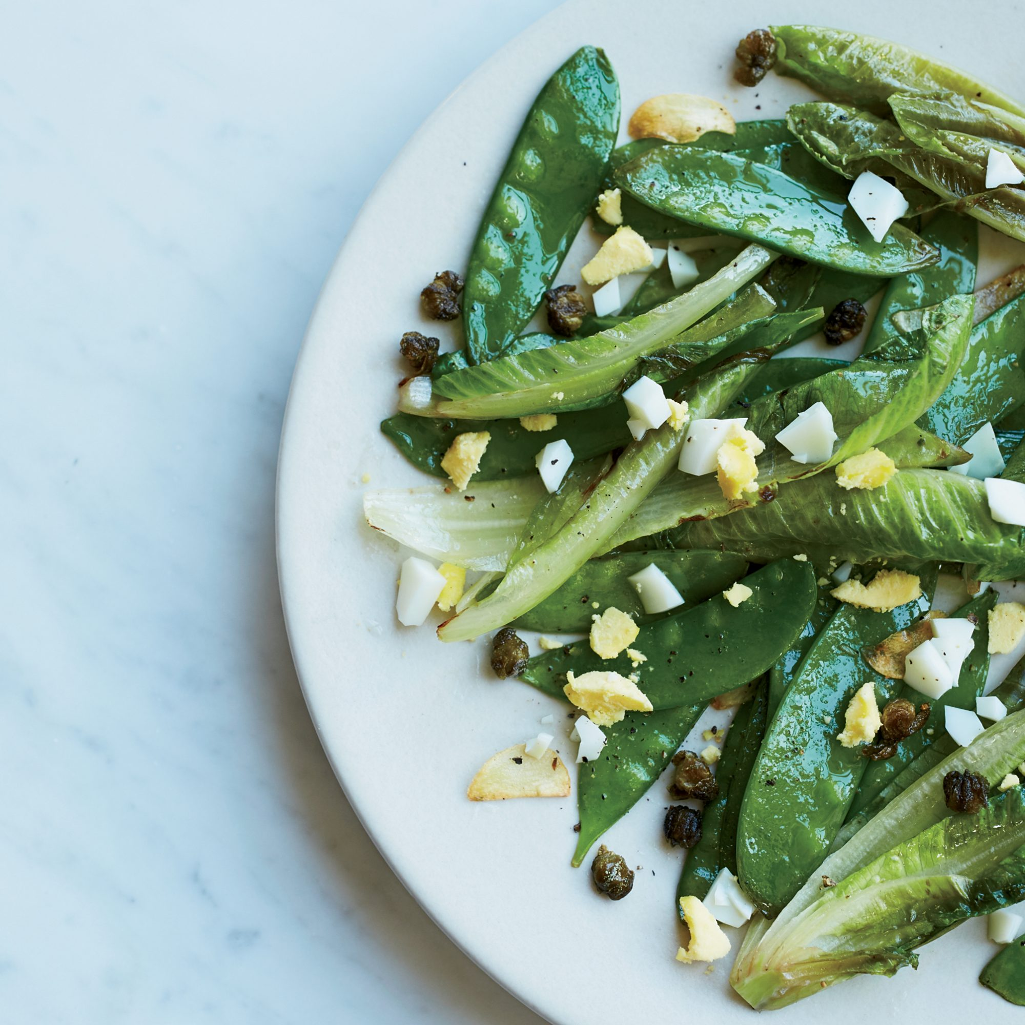 Stir-Fried Snow Peas and Romaine