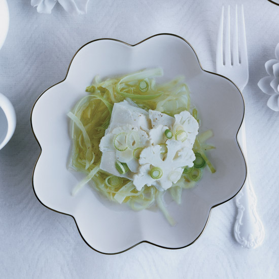 Sake-Steamed Halibut with Ginger and Cabbage