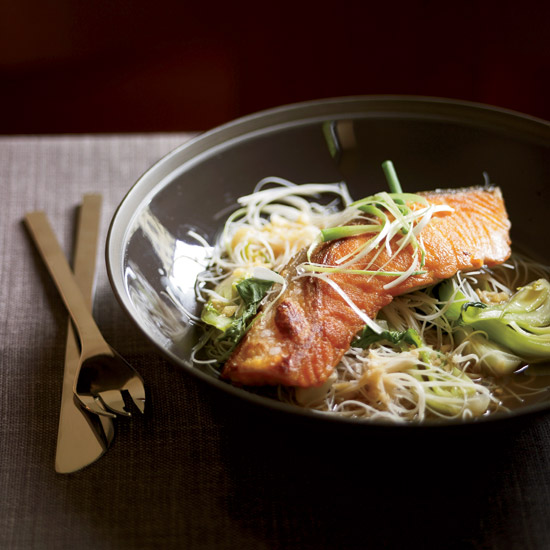 Crispy Asian Salmon with Bok Choy and Rice Noodles