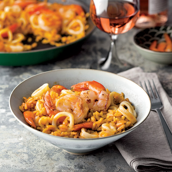 José Andrés's Paella with Shrimp and Squid