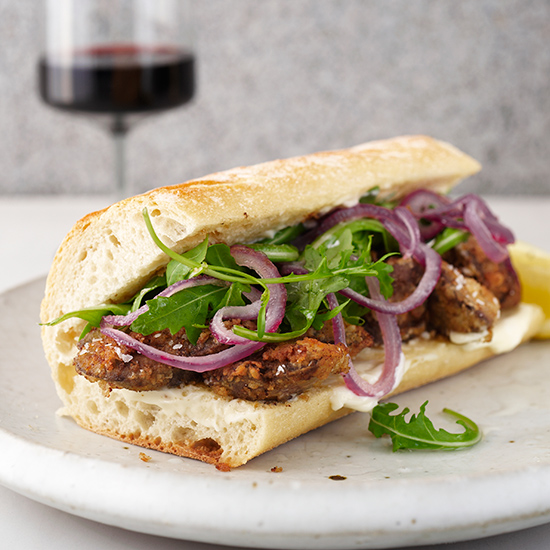 Fried-Chicken-Liver and Sautéed-Onion Po' Boys