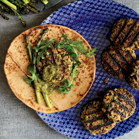 Mushroom Kufteh with Green Harissa and Asparagus Pesto. Photo © David Malosh