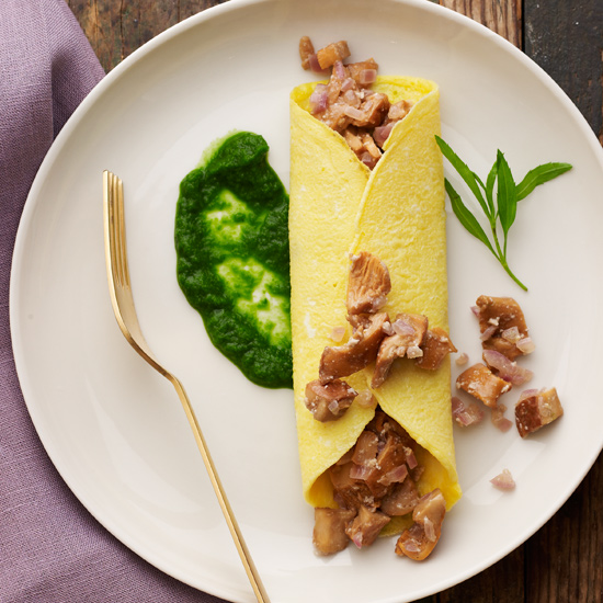 Chanterelle Omelets with Fines Herbes Sauce