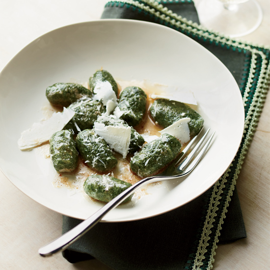 Spinach Gnocchi with Shaved Ricotta Salata