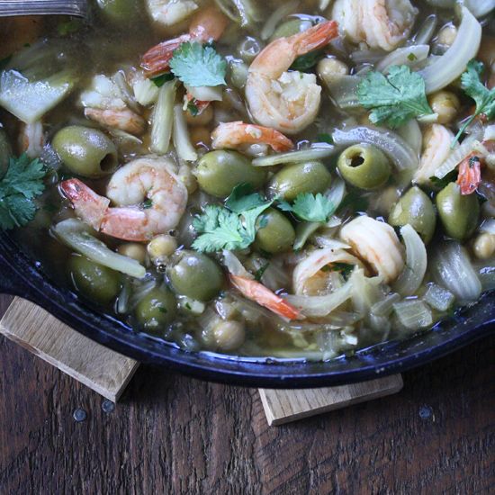 Shrimp Tagine with Green Olives, Fennel and Preserved Lemon