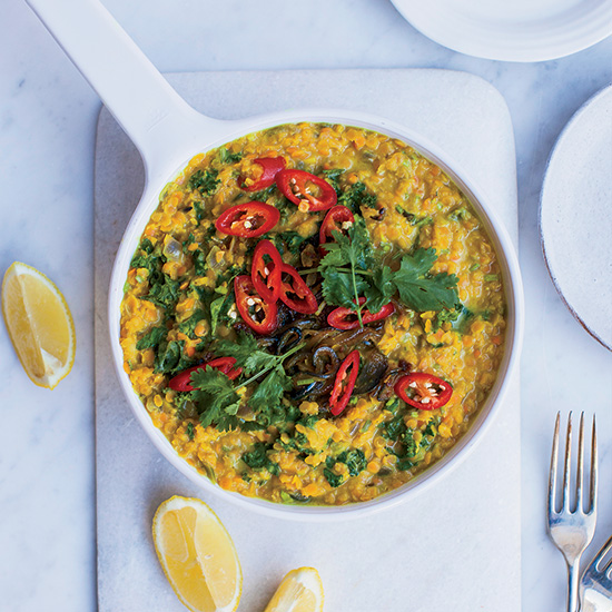 Red Lentil Dal with Coconut Milk and Kale