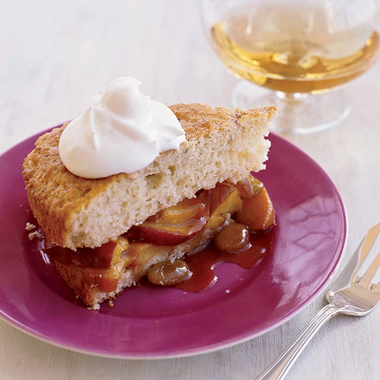 Warm Peach Shortcake with Brandy Whipped Cream