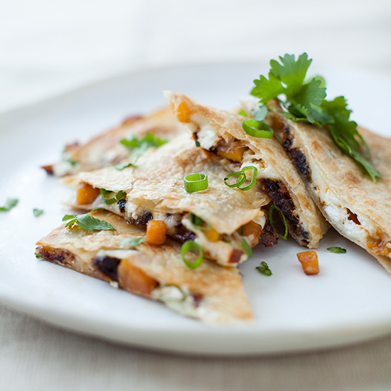 Butternut Squash, Sun-Dried Tomato, and Goat Cheese Quesadillas