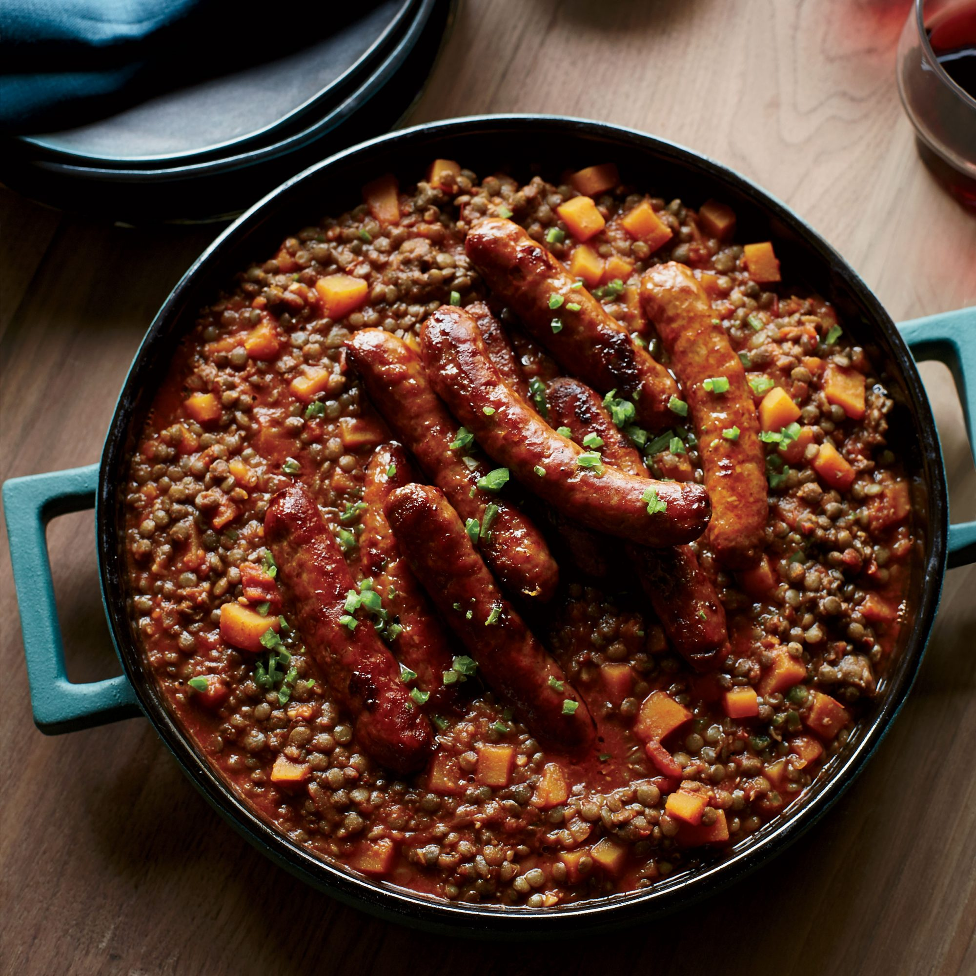 Lentils with Butternut Squash and Merguez Sausage