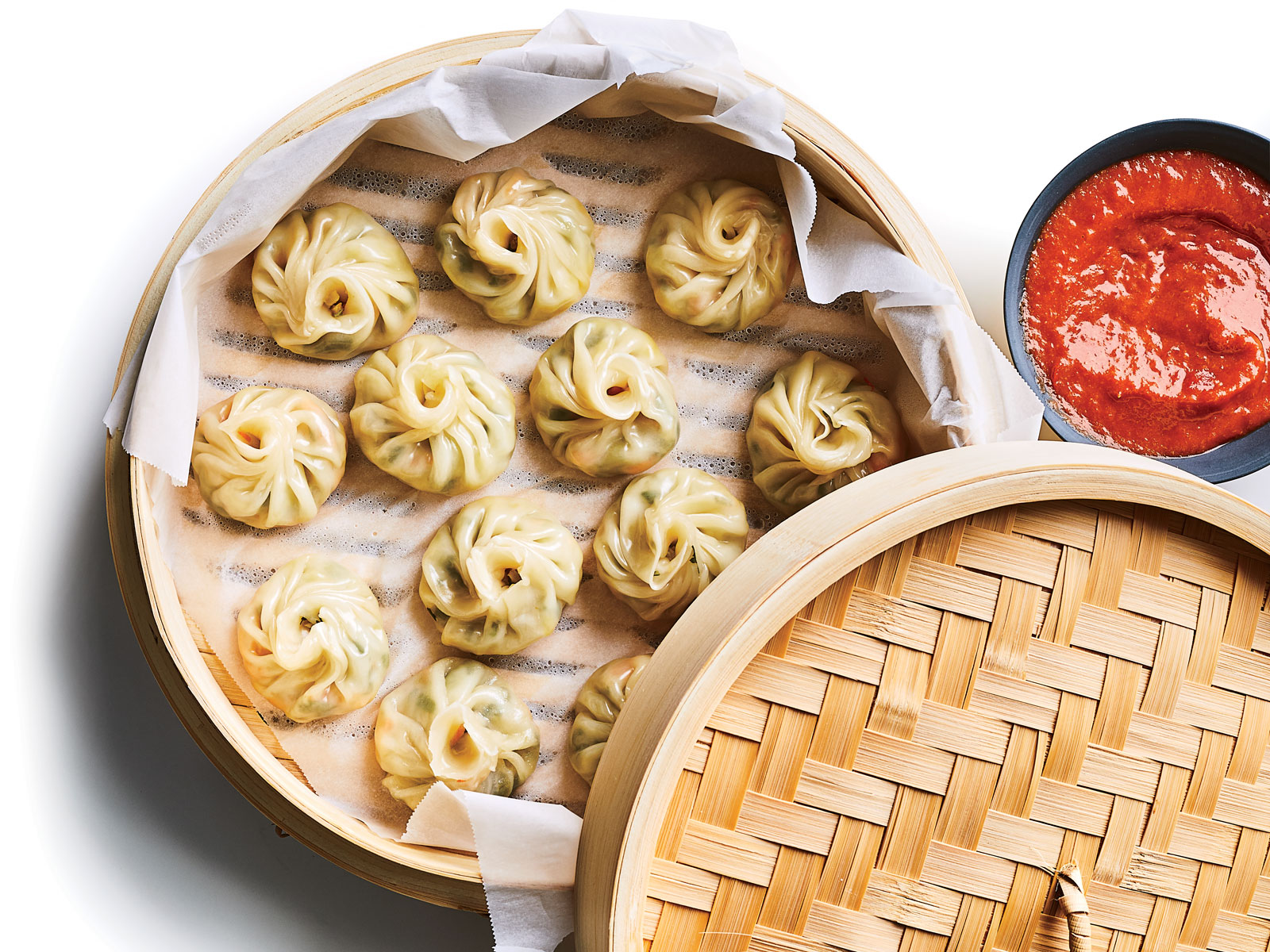 Momos with Red Chile Chutney