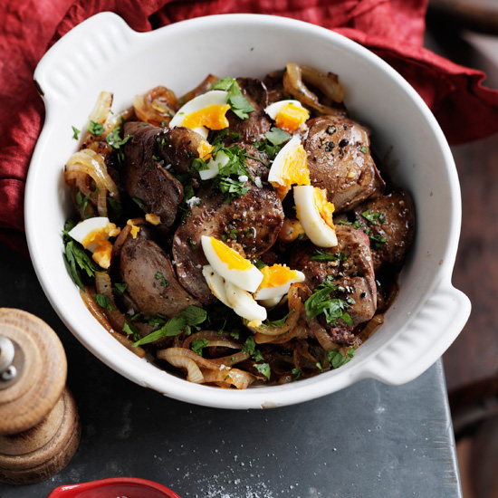 Chicken Livers with Caramelized Onions and Madeira
