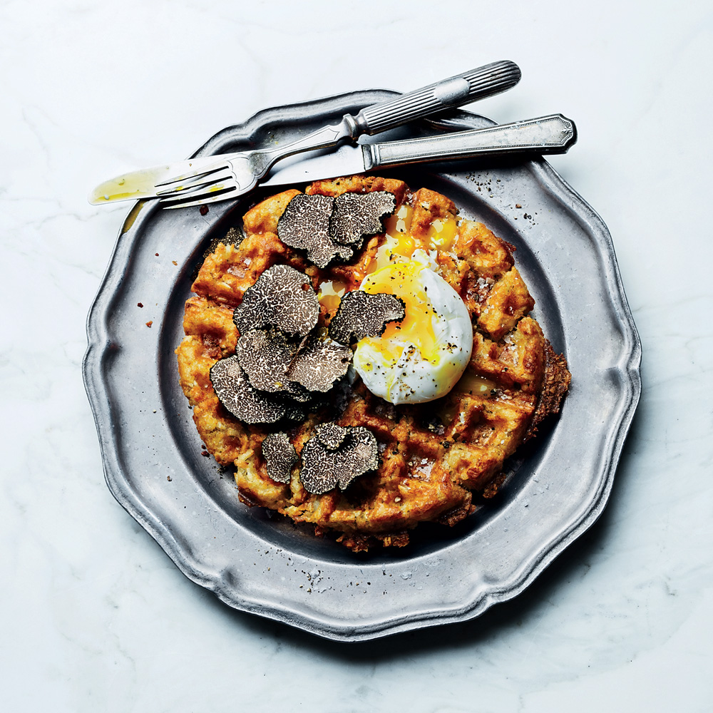 Tater Tot Waffles with Truffled Eggs