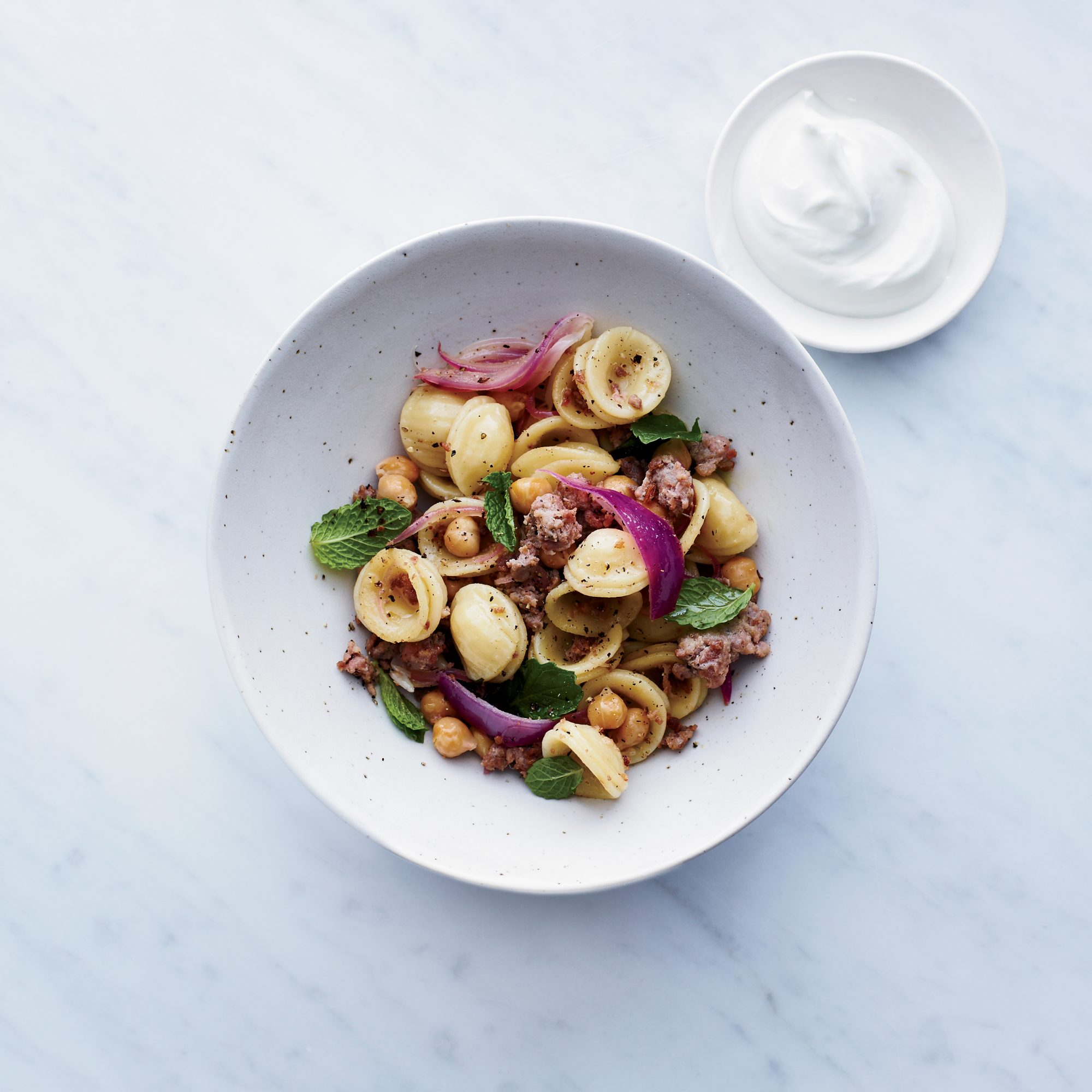 Orecchiette with Sausage, Chickpeas and Mint