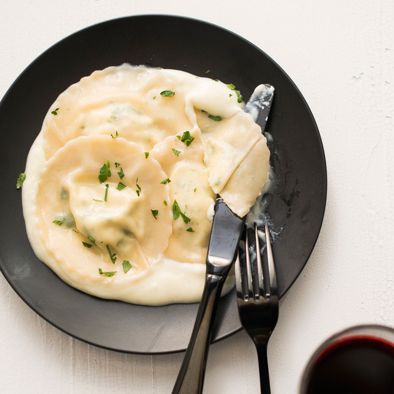 Easy Wonton Goat Cheese Ravioli