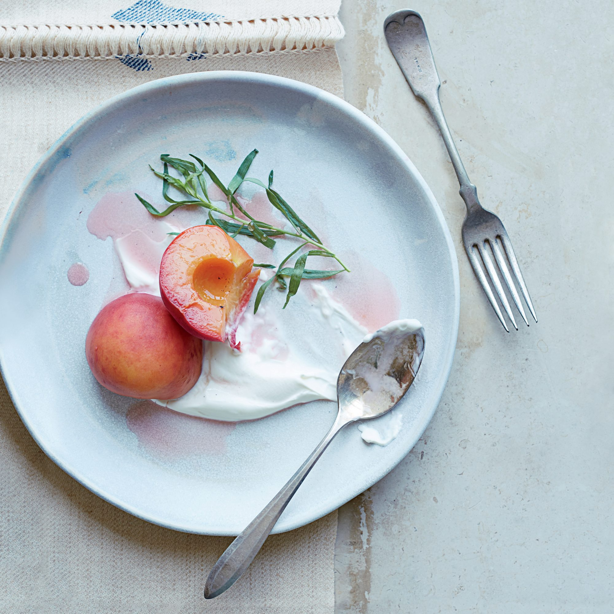 Riesling-Poached Peaches with Tarragon and Salted Sour Cream