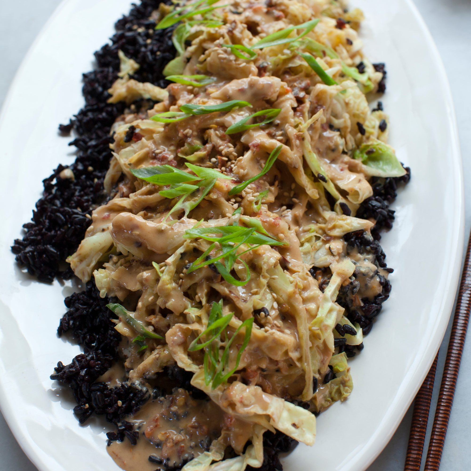 Black Rice with Stir-Fried Cabbage and Peanut Sauce
