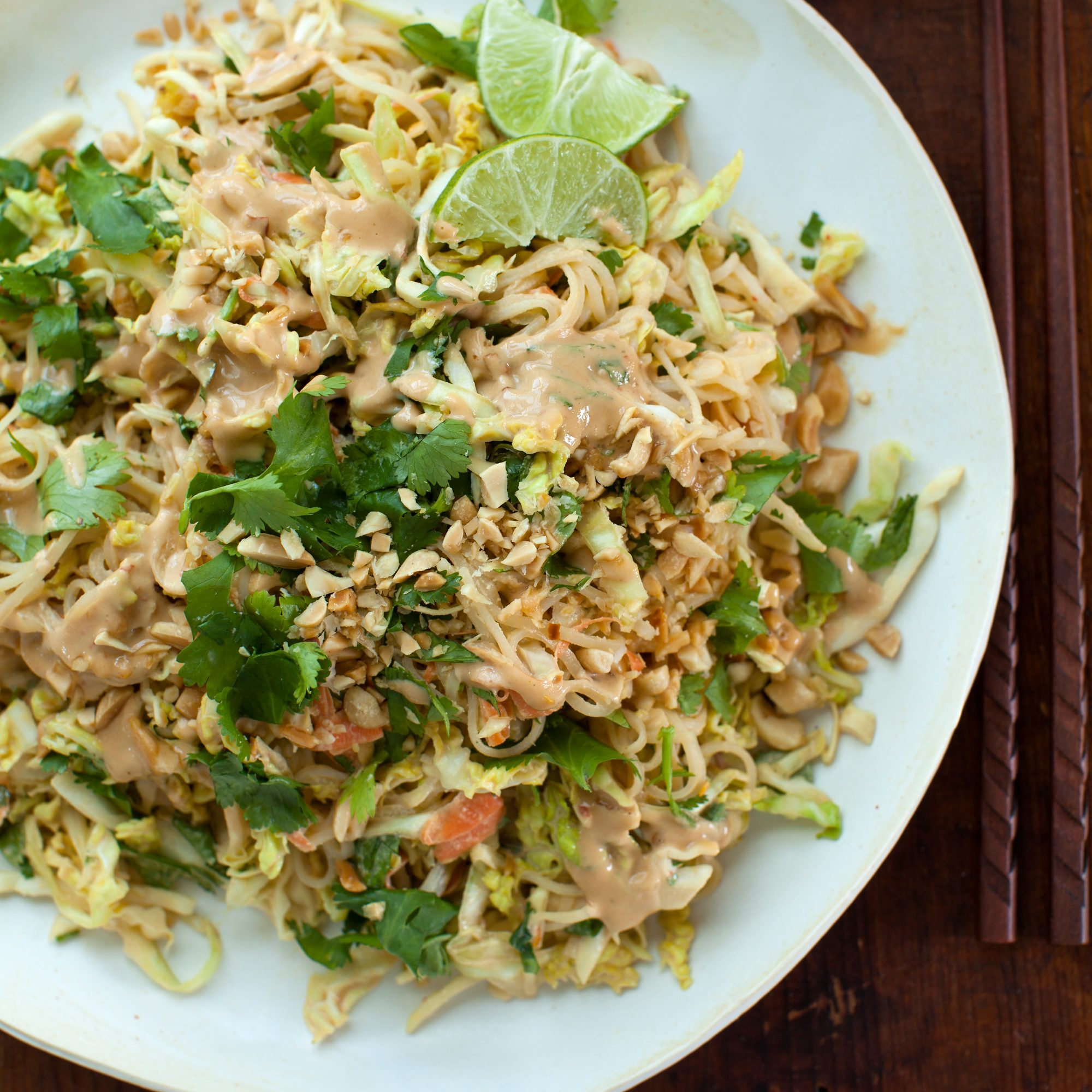 Chilled Rice Noodle and Cabbage Salad with Spicy Peanut Dressing