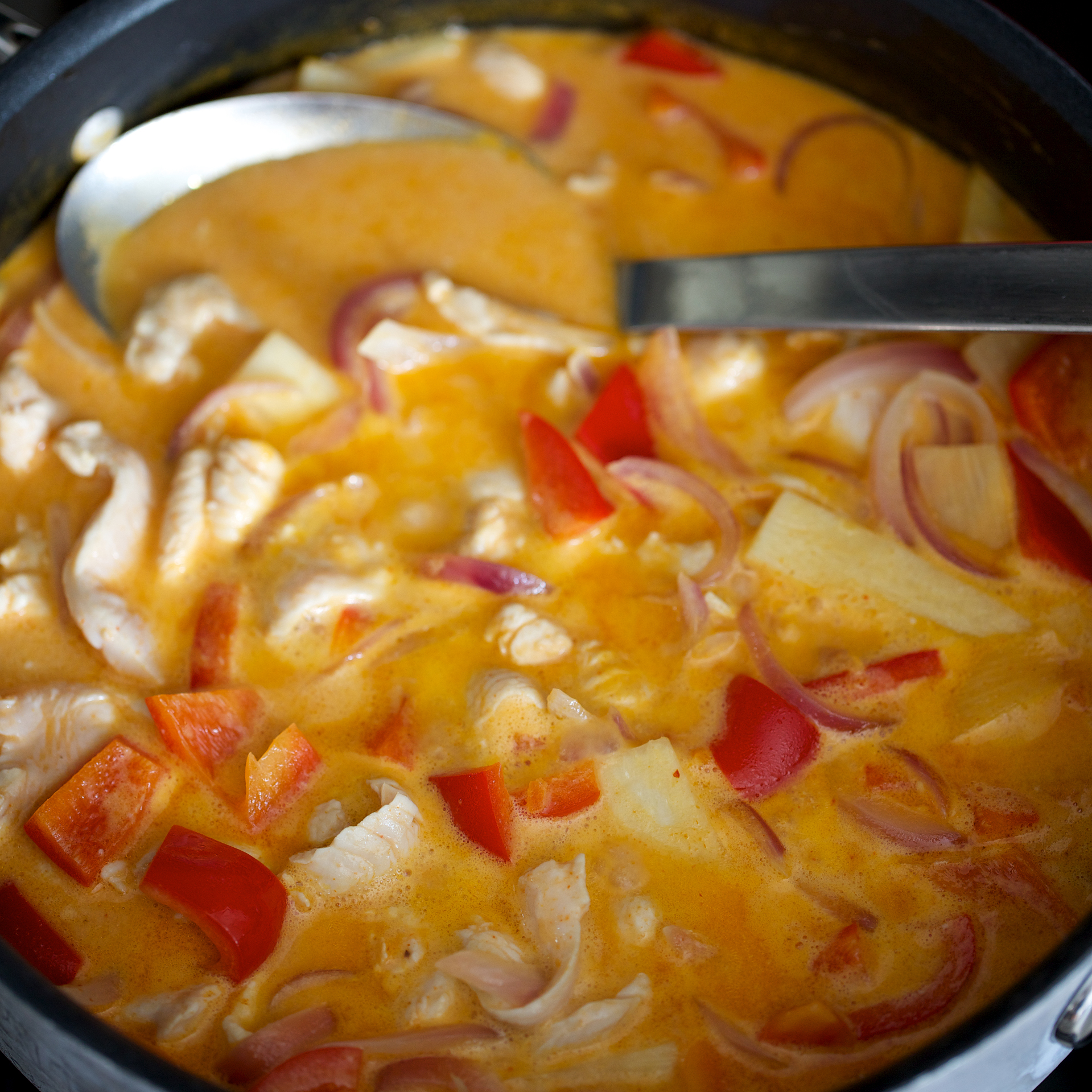 Thai Red Curry with Chicken, Red Peppers and Bamboo Shoots