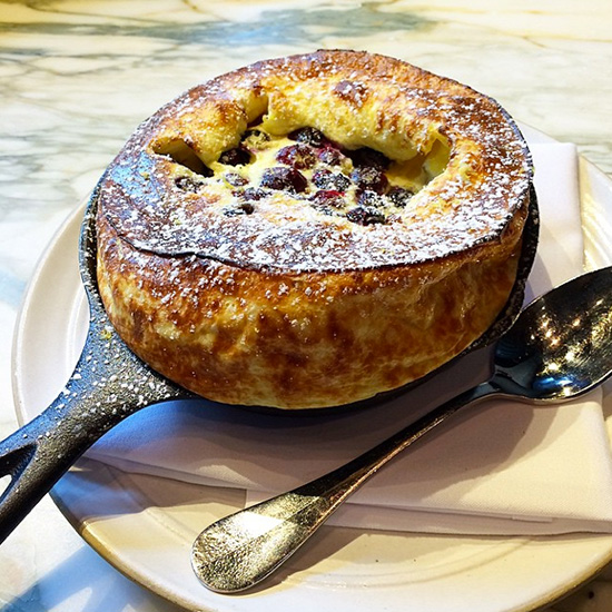Lemony Ricotta Dutch Baby with Blueberries