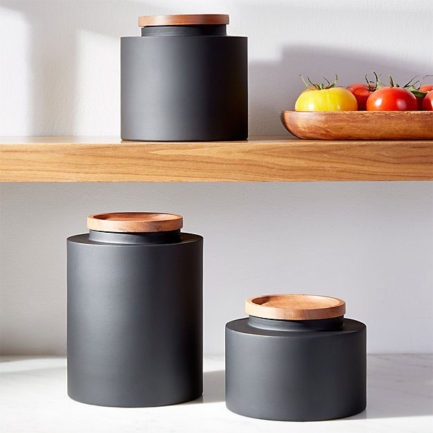 matte black kitchen storage containers