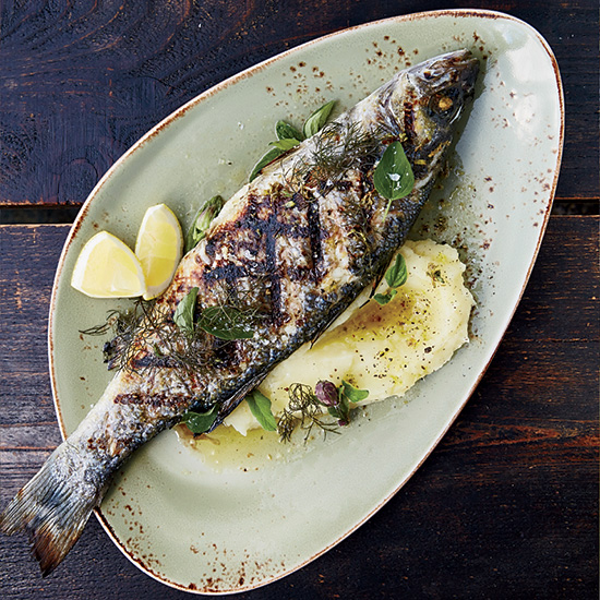 Grilled Branzino with Skordalia and Ladolemono