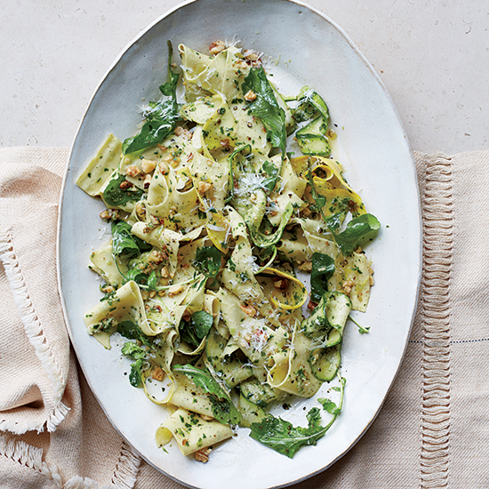 Pappardelle with Summer Squash and Arugula-Walnut Pesto