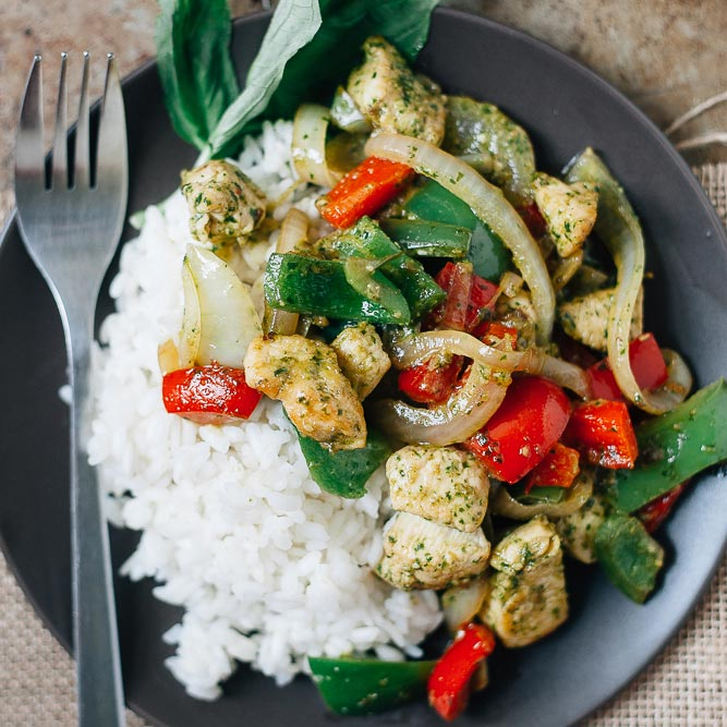 Chicken Pesto Stir-Fry