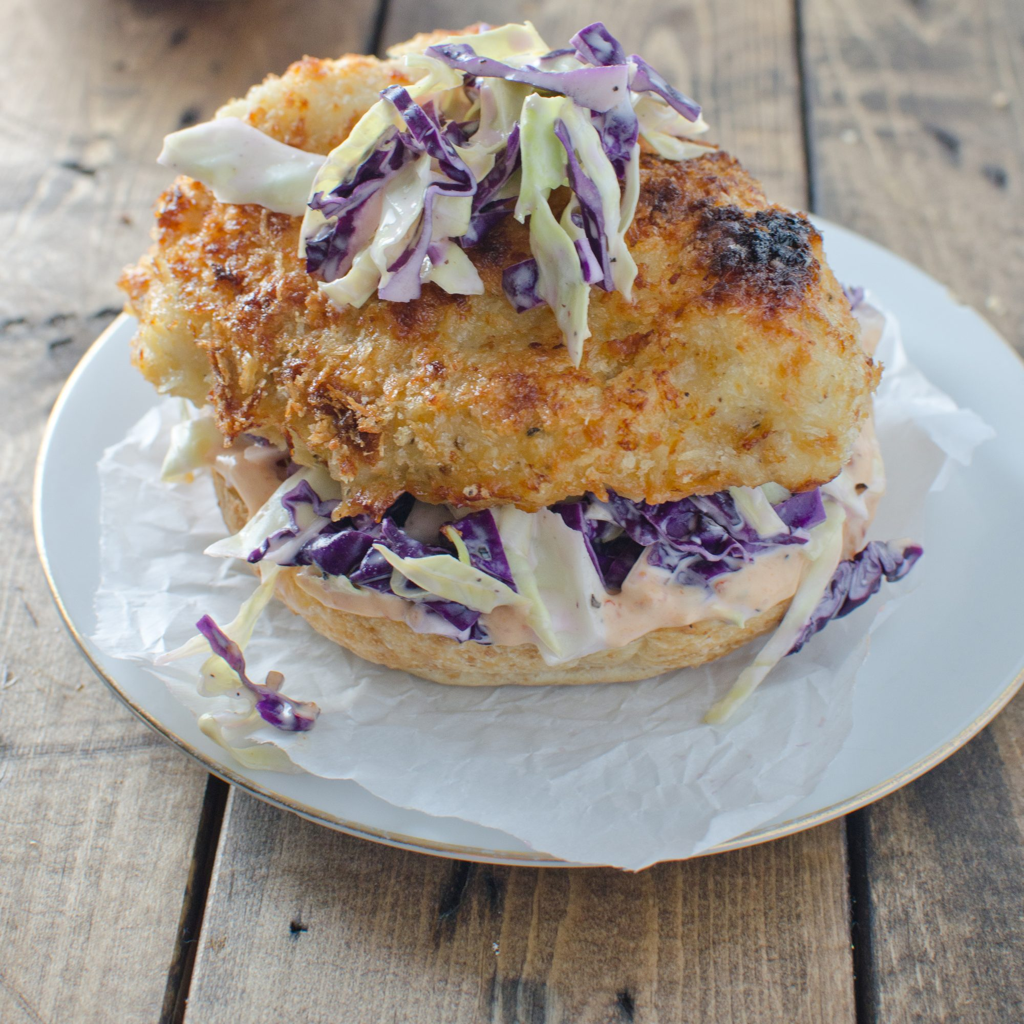 Crispy Chicken Burger with Coleslaw and Chipotle Mayo