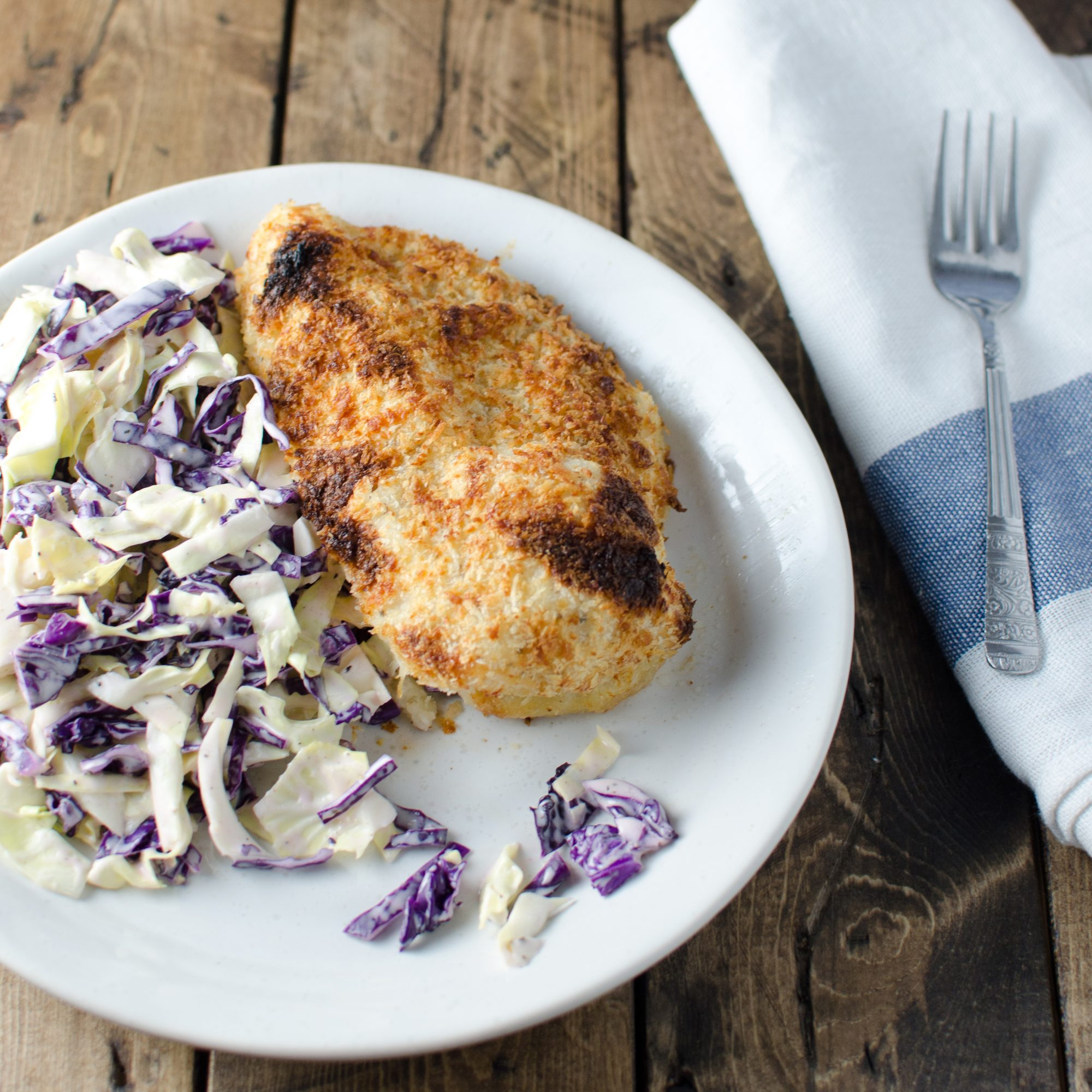 Crispy Faux Fried Chicken with Crunchy Coleslaw