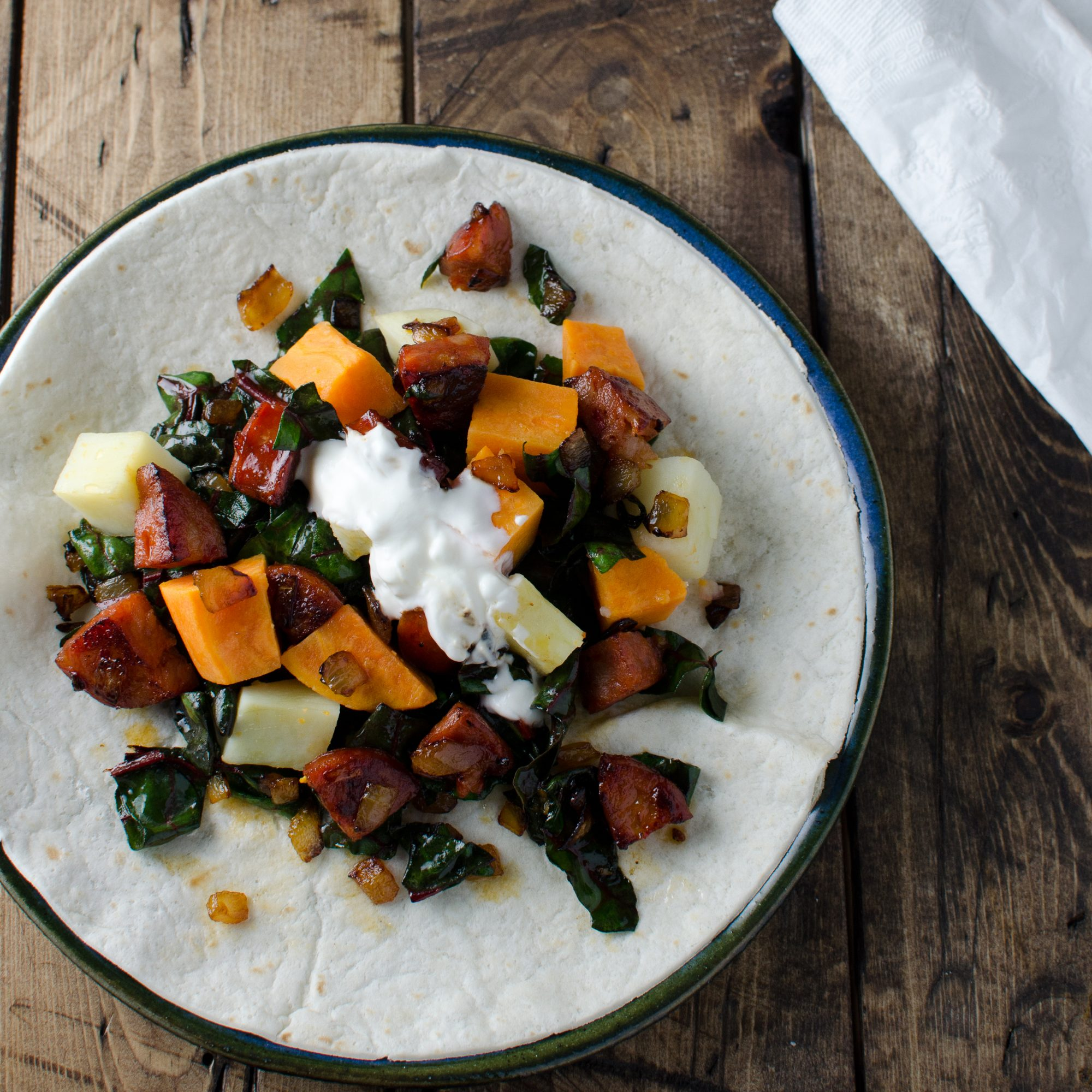 Sweet Potato-Chorizo-Swiss Chard Burrito