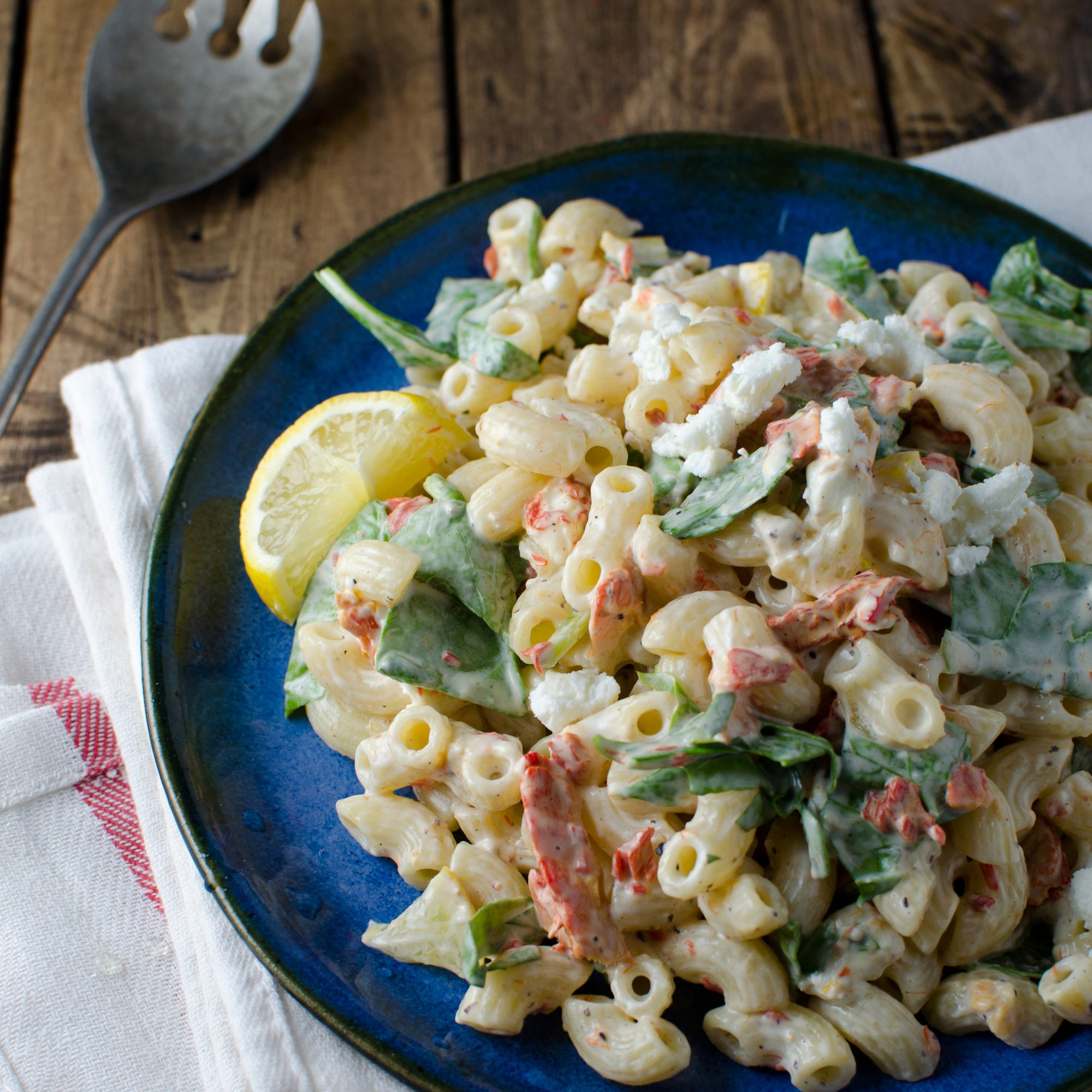 Smoked Salmon Macaroni Salad with Spinach, Lemon and Goat Cheese