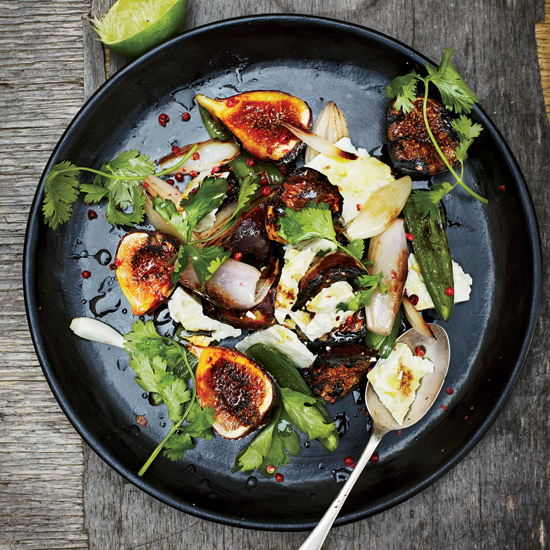 Fresh Fig Salad with Feta and Blistered Jalapeños