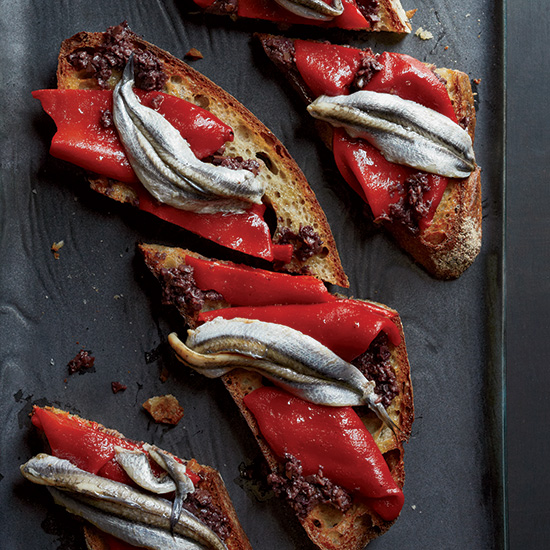 Piquillo Pepper and White Anchovy Toasts
