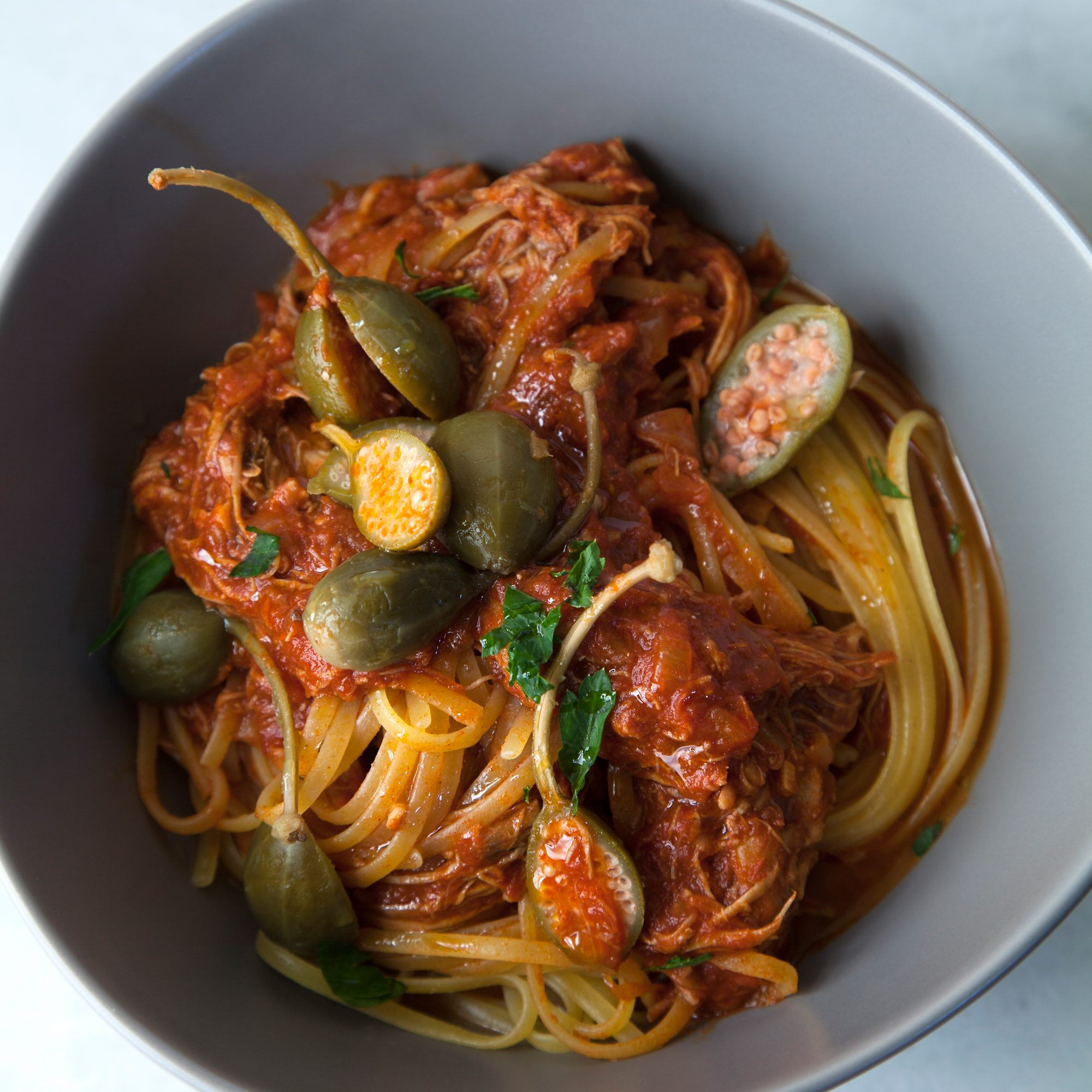 Slow Cooker Chicken Cacciatore with Linguine and Caper Berries