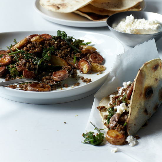 Homemade Green Chorizo Tacos with Kale & Potatoes